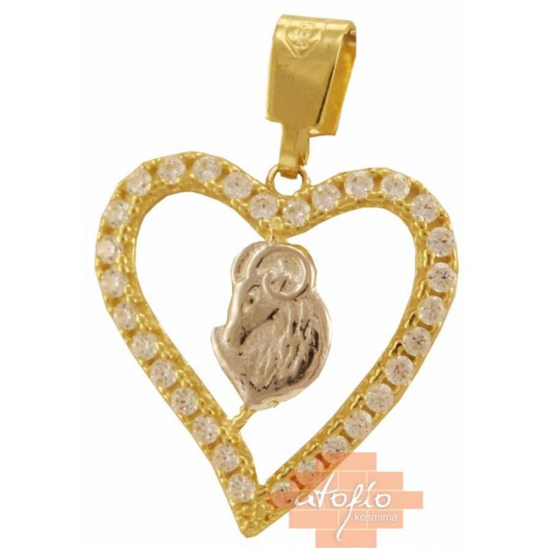 Χρυσό ζώδιο κριός καρδιά 14καρατίων ZF145SOK6