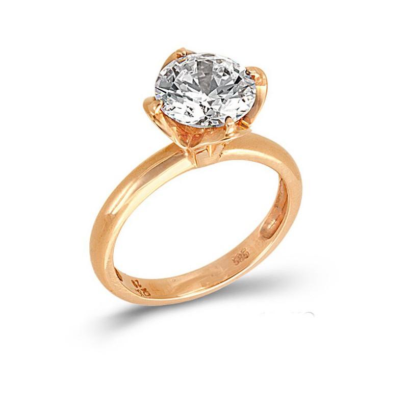 Ροζ χρυσό μονόπετρο δαχτυλίδι με ζιργκόν 14καρατίων 186KOLAV23