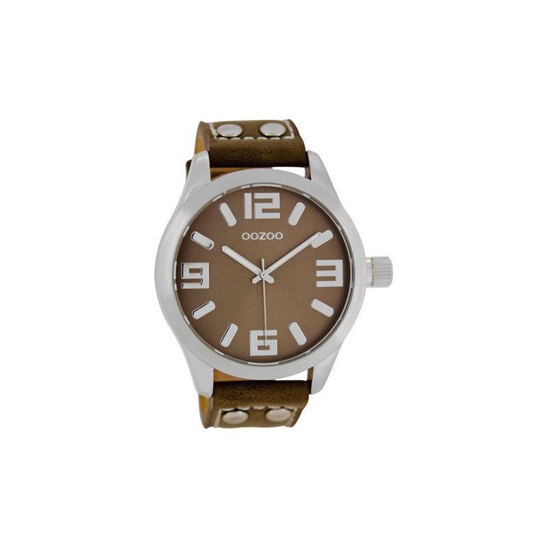 Ρολόι OOZOO C1064 Timepieces Xl με Καφέ Δερμάτινο Λουράκι