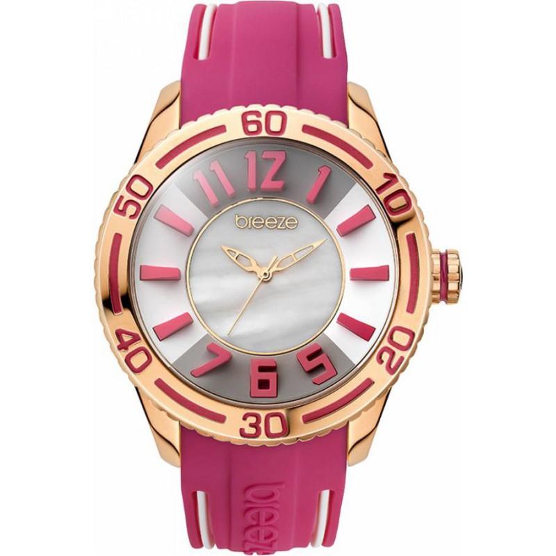 Ρολόι BREEZE 110191.9 Miami Twist Ροζ Χρυσό με Φούξια Καουτσούκ Λουράκι