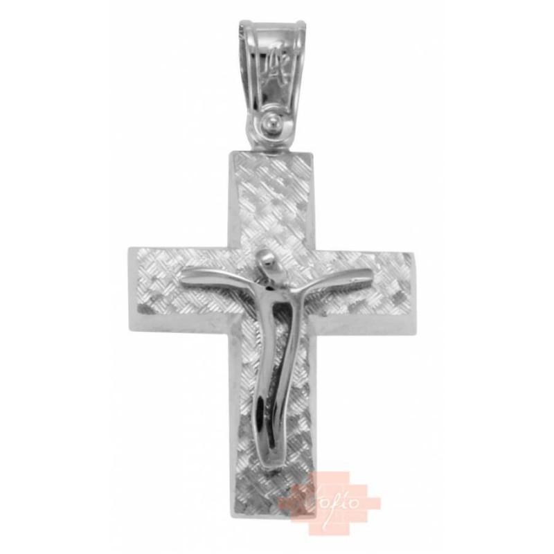 Λευκόχρυσος σταυρός 14καρατίων ST424HL8