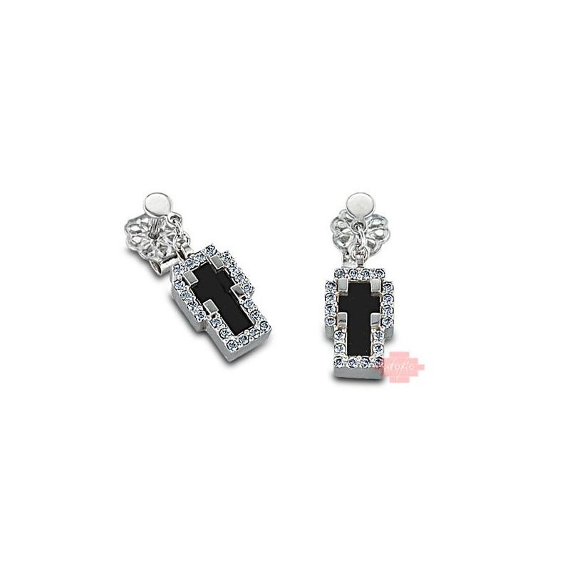 Λευκόχρυσα σκουλαρίκια με ζιργκόν πέτρες σε σχήμα σταυρού 14011LAV9