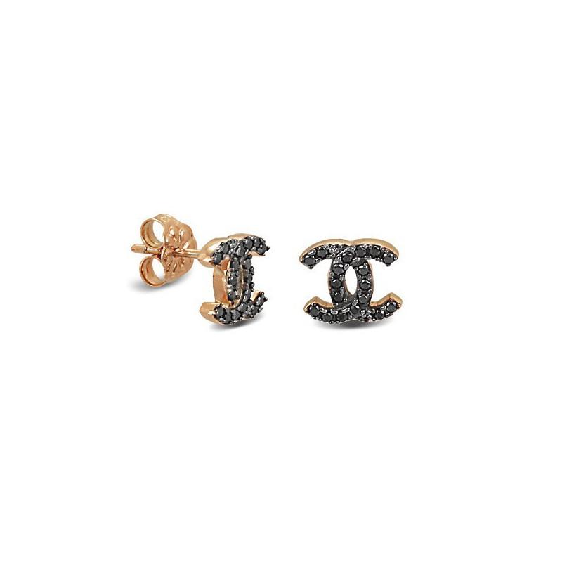 Ροζ χρυσά σκουλαρίκια με μαύρα ζιργκόν CHANLAV9