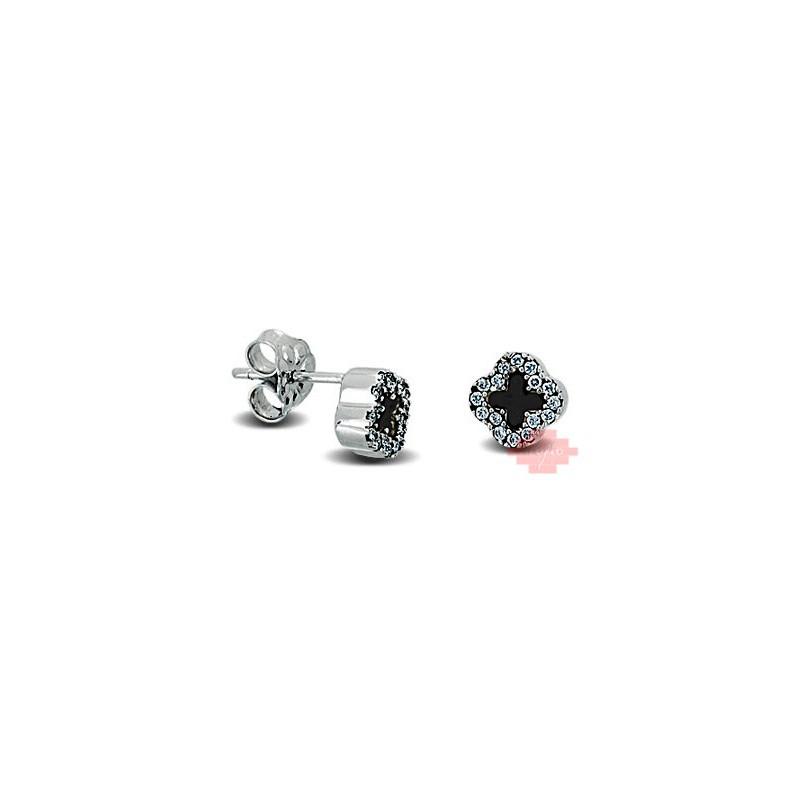 Λευκόχρυσα σκουλαρίκια με ζιργκόν και σταυρούς 14002LAV9