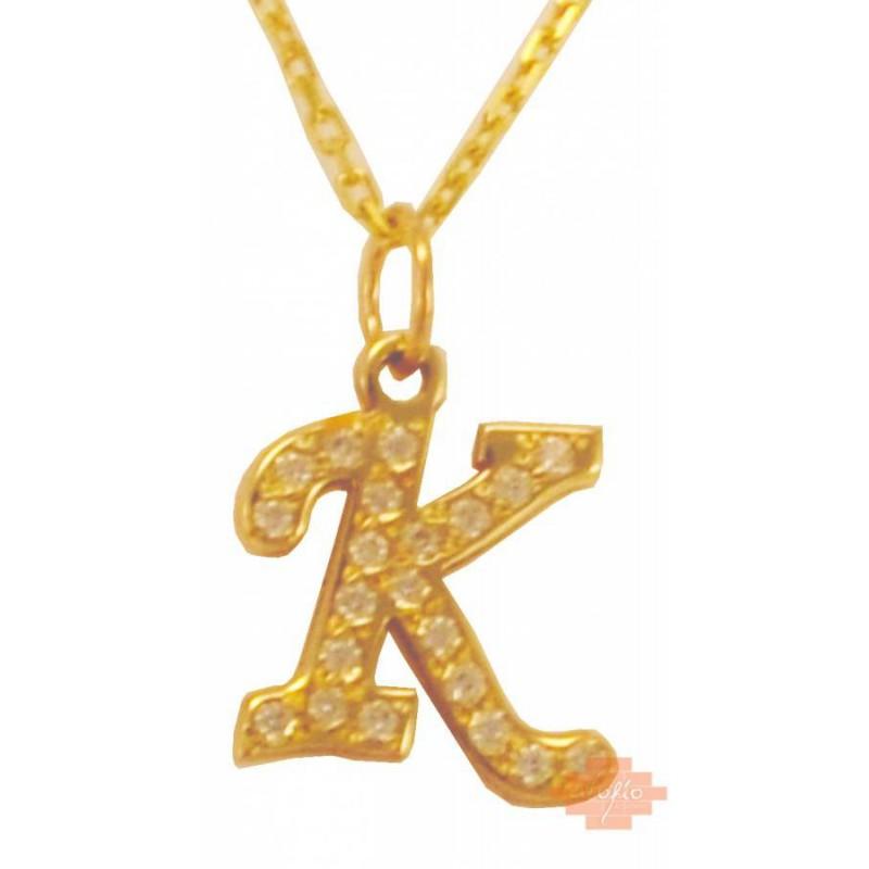 Χρυσό μονόγραμμα 'Κ' με αλυσίδα MN49KOL22