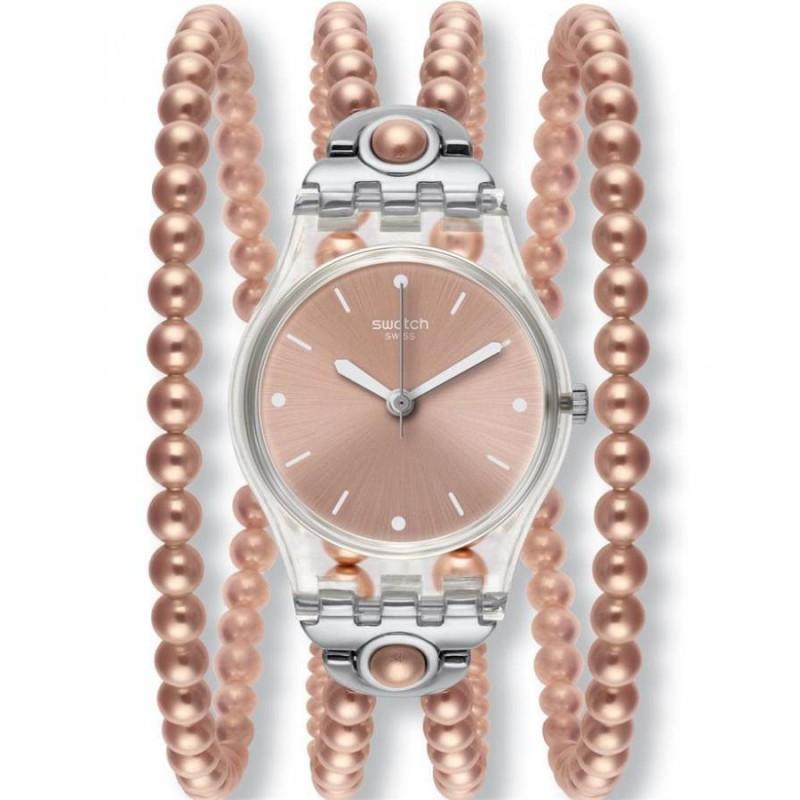 Ρολόι SWATCH LK354 Pink Prohibition με Ροζ Μπρασελέ από Πέρλες