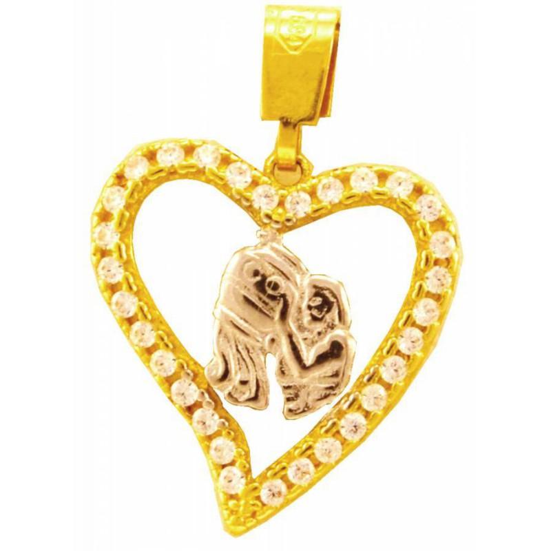 Χρυσό ζώδιο 'υδροχόο' σε καρδούλα με πέτρες SF167SOK