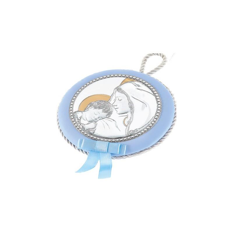 Ασημένια παιδική εικόνα κούνιας για αγόρι σε σιέλ χρώμα MA/DM/606/C