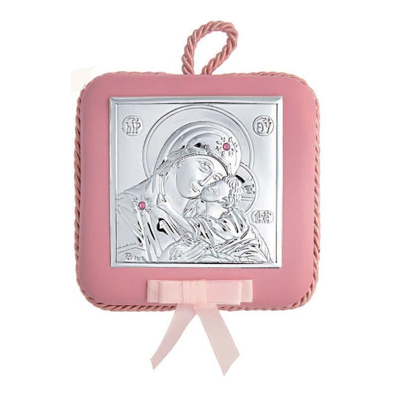 Ασημένια παιδική εικόνα για κούνια σε ροζ χρώμα MA/DM605/LR