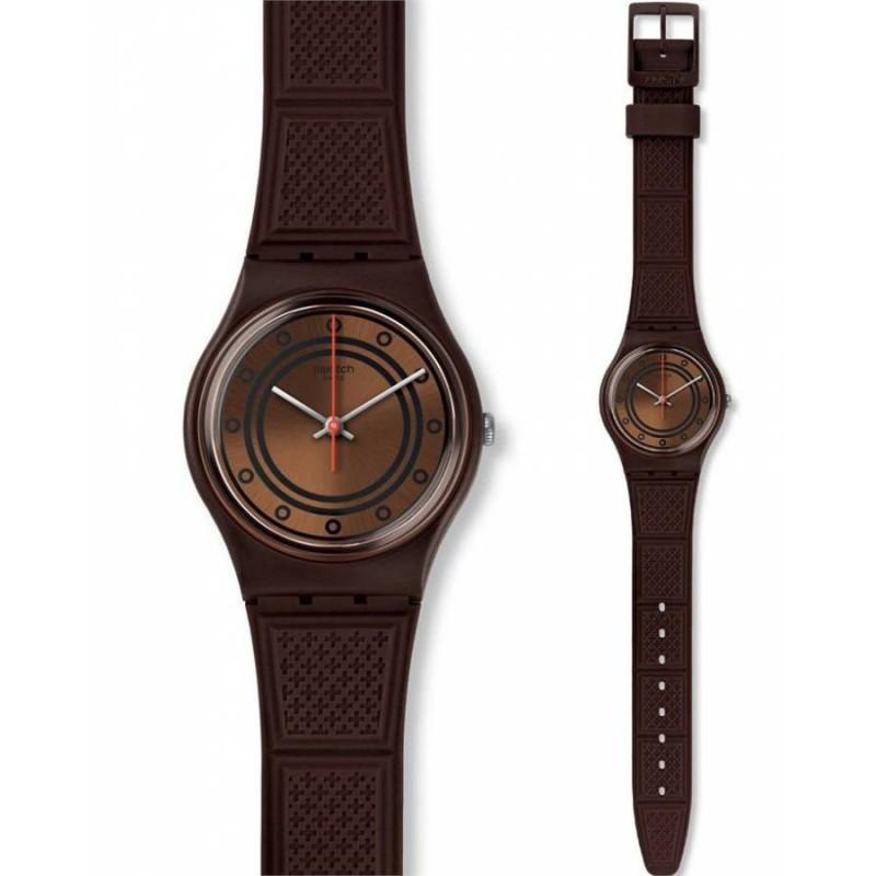 Ρολόι SWATCH GC114 Shoggi με Καφέ Καουτσούκ Λουράκι