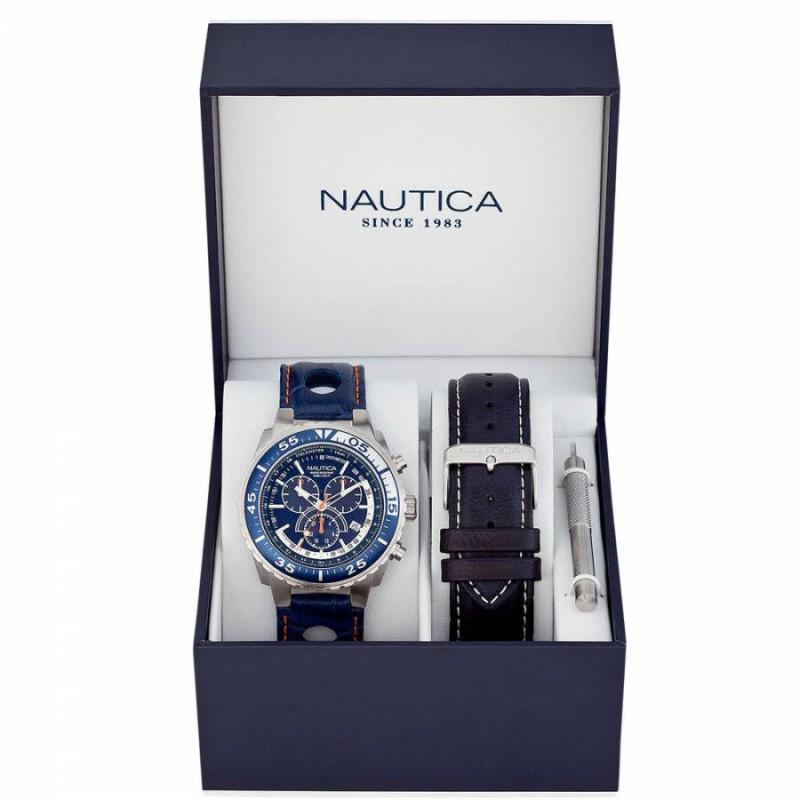 Ρολόι NAUTICA A15663G Set με Μπλέ Δερμάτινο Λουράκι και με Χρονογράφο