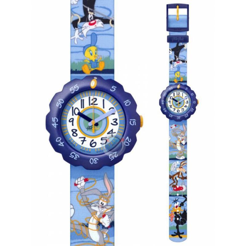 Ρολόι FLIK FLAK ZFLSP008 Looney Tunes Fun & Fit με Πολύχρωμο Υφασμάτινο Λουράκι