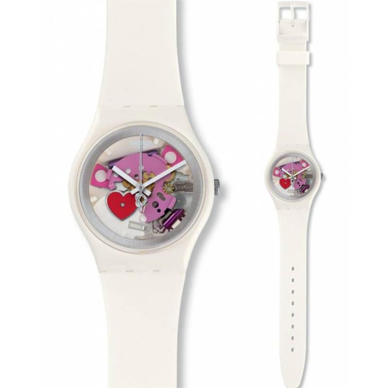 Ρολόι SWATCH GZ300 Valentine'S Specia 2016 με Λευκό Καουτσούκ Λουράκι