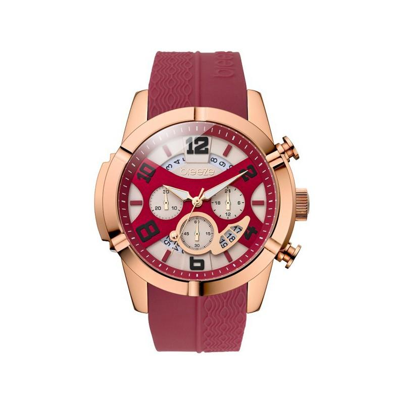 Ρολόι BREEZE 110411.6 Royal Glow Ροζ Χρυσό με Κόκκινο Καουτσούκ Λουράκι και με Χρονογράφο