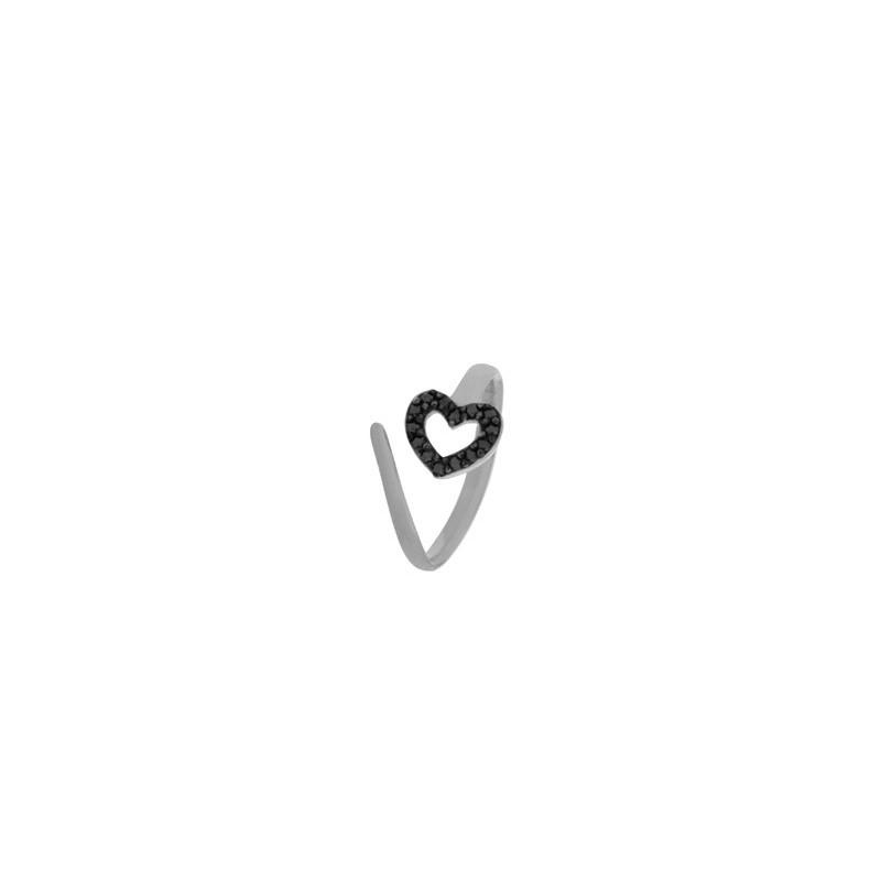 Δαχτυλίδι ασημένιο ανοιγόμενο (σεβαλιέ) σε σχήμα καρδιάς 04-04-2754 white-black.