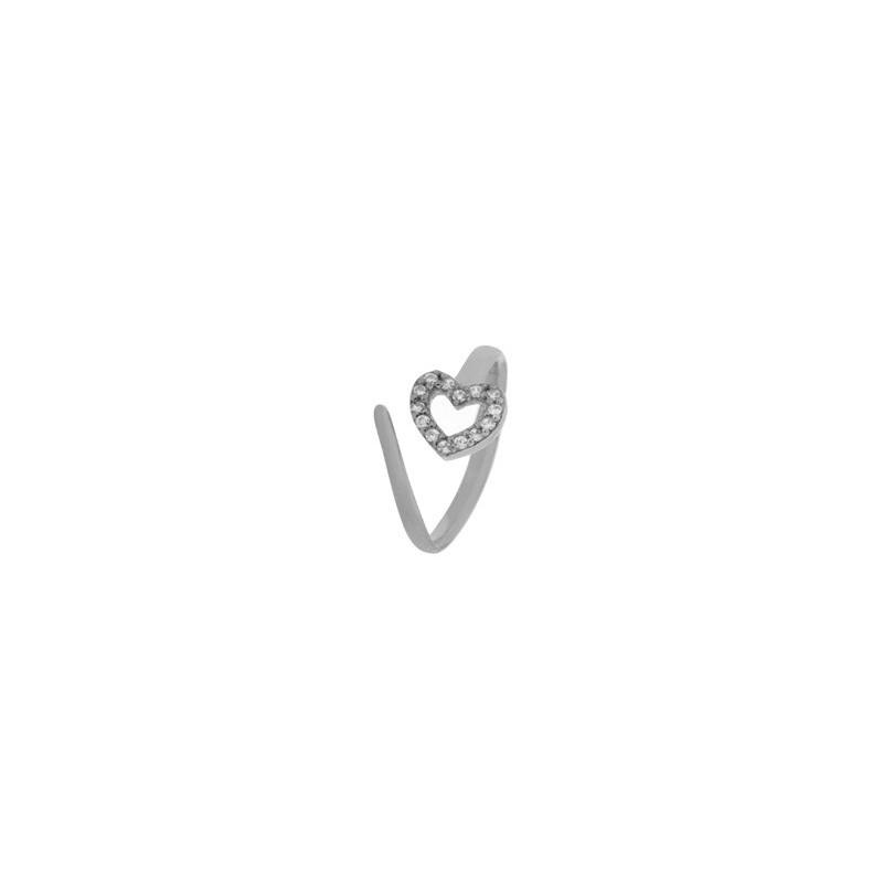 Δαχτυλίδι ασημένιο ανοιγόμενο (σεβαλιέ) σε σχήμα καρδιάς 04-04-2754-white