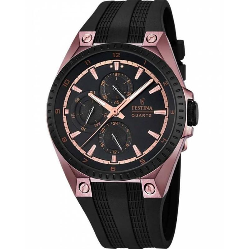 Ρολόι FESTINA F16836/1 Multifunction Ροζ Χρυσό με Μαύρο Καουτσούκ Λουράκι